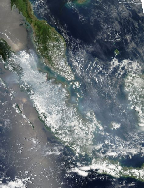 Satelit imagery yang menangkap lokasi awan dan kebakaran; Sumber: NASA
