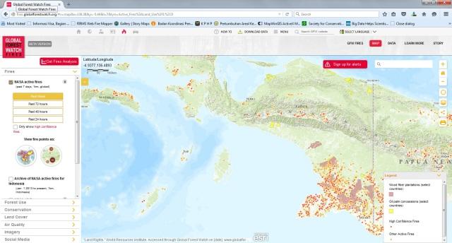 Sebaran titik api dan konsesi di Papua